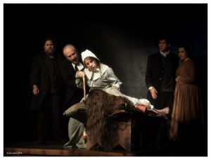 """David Snider, Ron Komora, Deb Borthwick, Abbey Maher, Rob Forgett and Kyra Fitzgerald in Arthur Miller's """"The Crucible"""" at Hubbard Hall Center for the Arts and Education in Cambridge, N.Y. John Sutton / Hubbard Hall."""