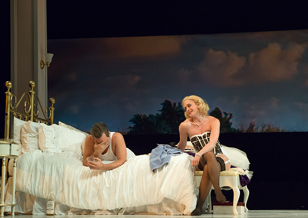 "Michael Raymond-James and Rebecca Brooksher in ""Cat on a Hot Tin Roof."" Photo Emma Rothenberg-Ware."