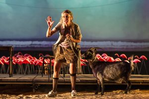 Constance Shulman and Savannah the Goat in The Rose Tattoo at the Williamstown Theatre Festival. Photo T. Charles Erickson.