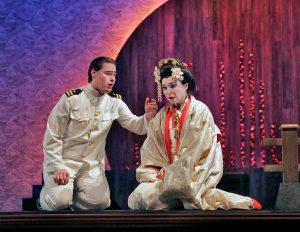 Jason Slaydon as Pinterton and Inna Los as Cio-Cio-San in Madama Butterfly at the Berkshire Opera Festival. Photo Ken Howard.