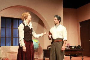 Elizabeth Aspenlieder and David Joseph in The Consul, The Tramp, and America's Sweetheart at the Oldcastle Theatre Company.