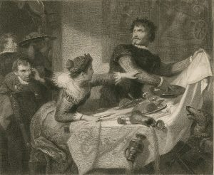 Fr. Schwoerer illustration of Act 4, Scene 1 (Petruchio rejects the bridal dinner). Engraved by Georg Goldberg (c.1850).
