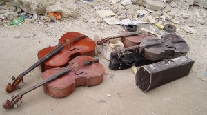Instruments recovered after the 2010 earthquake, from Owsley Brown's Serenade for Haiti