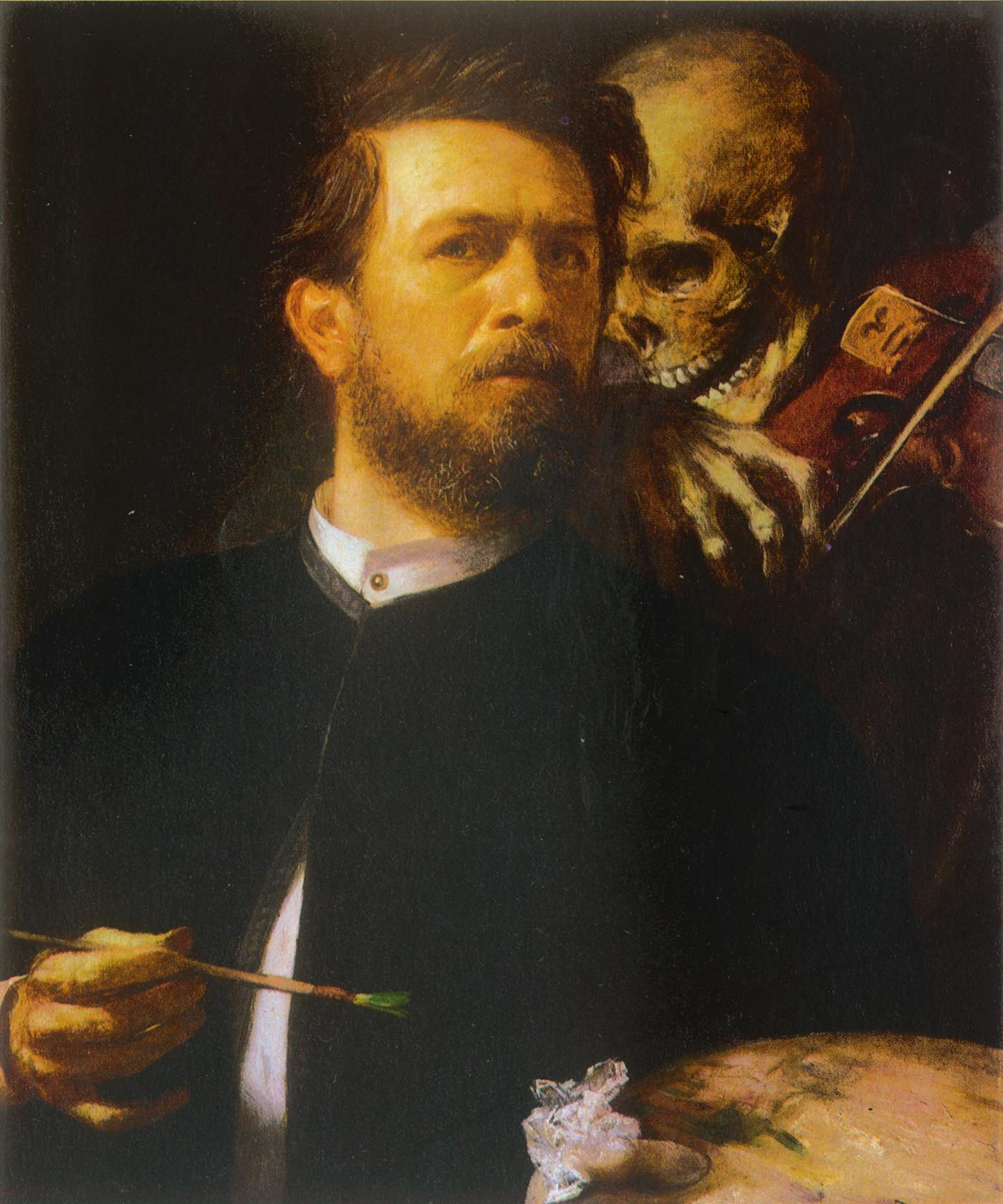 Arnold Böcklin, Self-Portrait with Death Playing the Fiddle, oil on canvas, 1872, Alte Nationalgalerie, Staatliche Museen zu Berlin.
