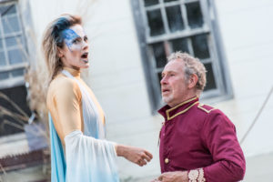 Tamara Hickey as Ariel and Nigel Gore at Prospero in Shakespeare's The Tempest.