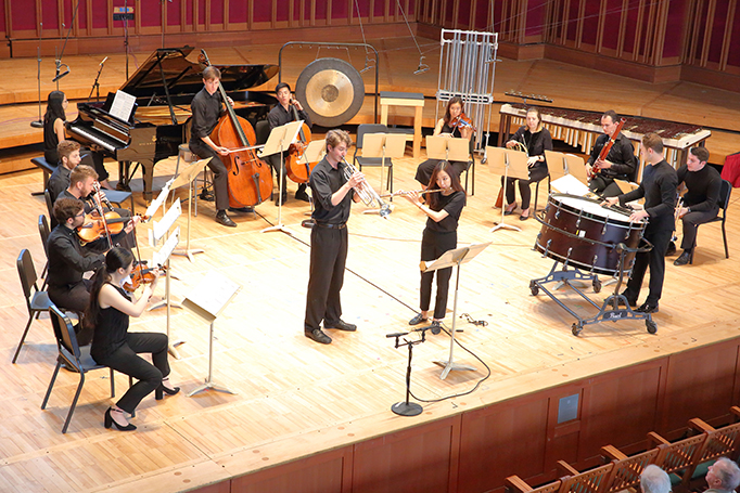 Festival of Contemporary Music performs Harrison Birtwistle's Cortege at Seiji Ozawa Hall at Tanglewood 7.29.18. Photo Hilary Scott.