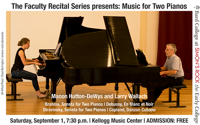 Two-Piano Recital at Simon's Rock: Manon Hutton-DeWys and Larry Wallach will Play Brahms and Stravinsky, September 1 at 7:30
