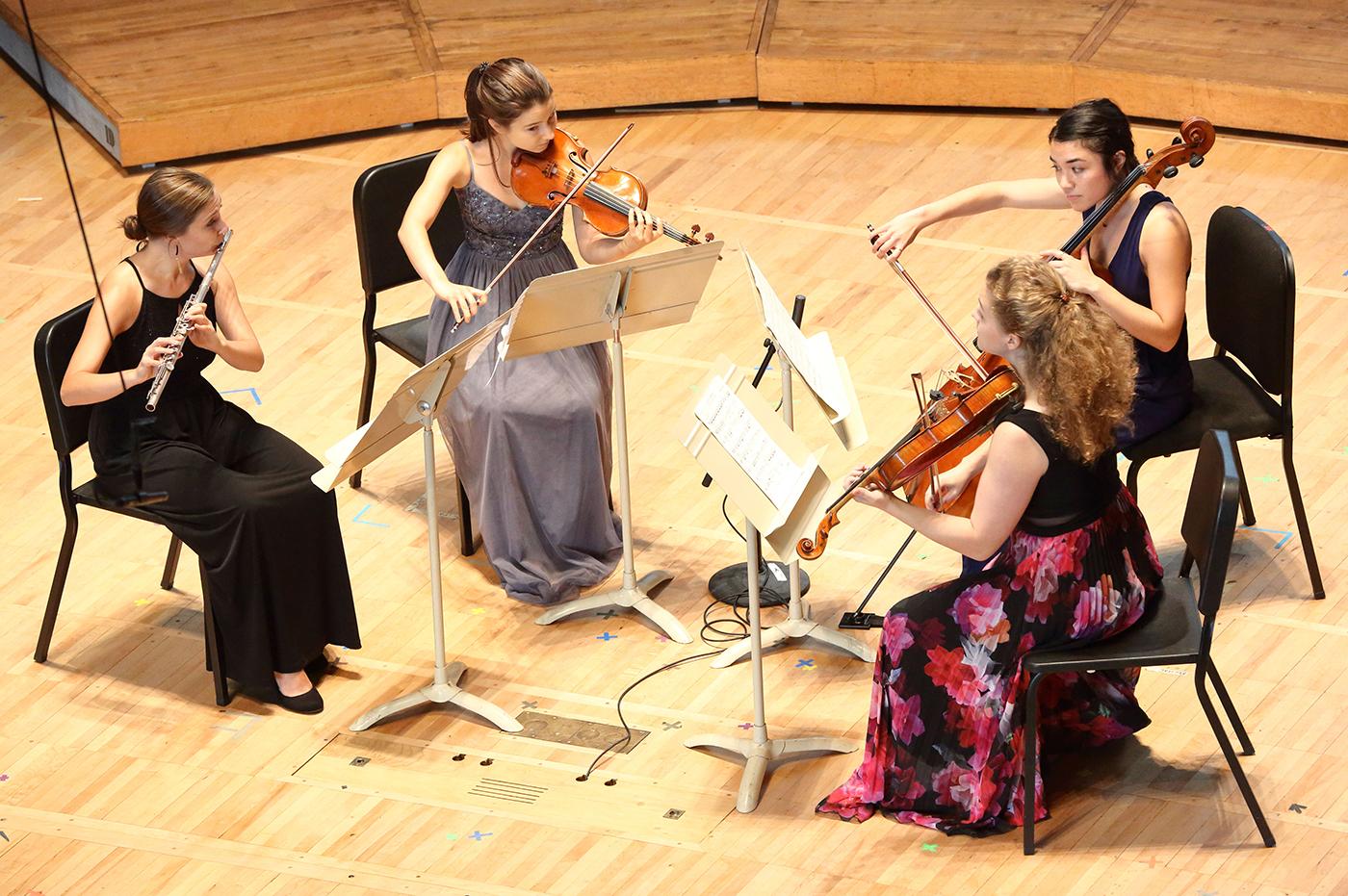 Shannon Vandzura, Carolyn Semes, Johanna Nowik, and Hana Cohon perform Andrew Norman's Light Screens at Seiji Ozawa Hall at Tanglewood 7.28.18. Photo Hilary Scott.