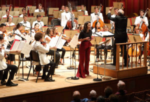Stefan Asbury leads soprano Elena Villalón in Oliver Knussen's Songs and a Sea-Interlude for soprano and orchestra at Seiji Ozawa Hall at Tanglewood 7.30.18. Photo Hilary Scott.