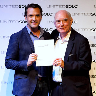 Gary Hilborn and Michael Miller with the award for best One-Man Drama at the United Solo Festival.