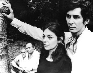 """William Gibson observes Anne Bancroft and Frank Langella rehearsing his """"A Cry of Players"""" for the 1968 season."""