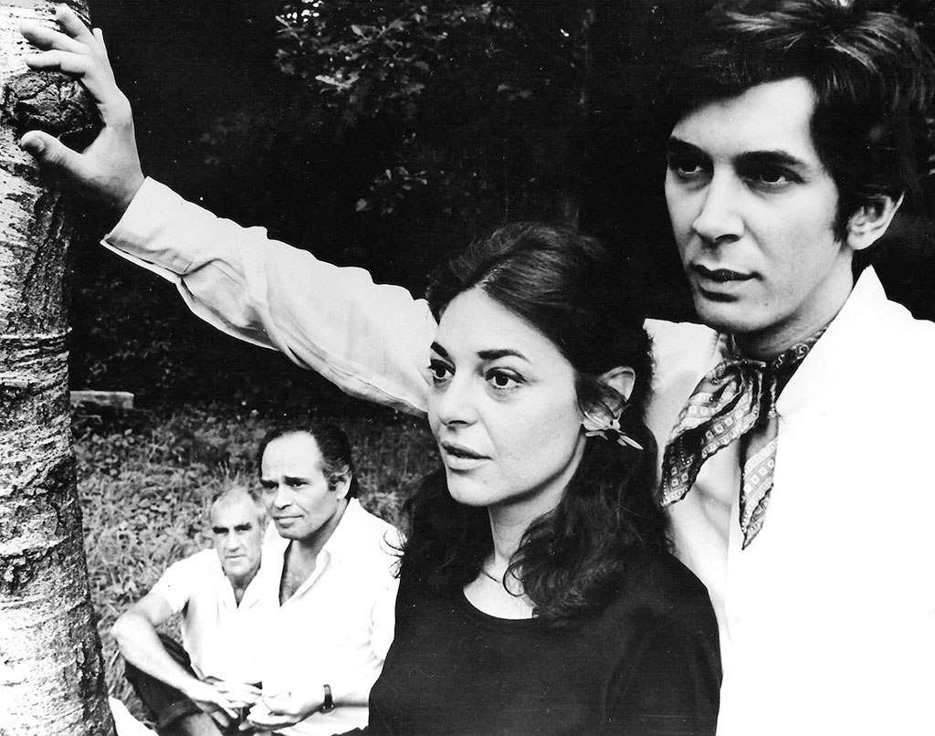 "William Gibson and Gene Frankel observe Anne Bancroft and Frank Langella rehearsing his ""A Cry of Players"" for the 1968 season."