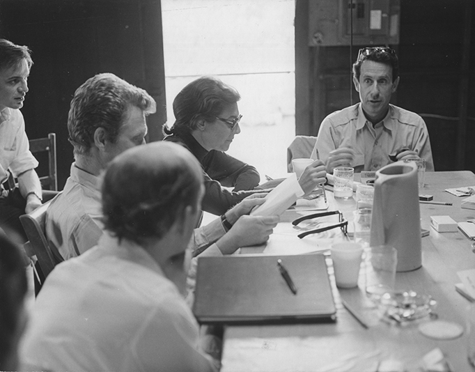 "The first rehearsal of ""The Skin of Our Teeth."" Left to Right: Michael Brookes, Alvin Epstein, Peter Maloney, Anne Bancroft, Arthur Penn."