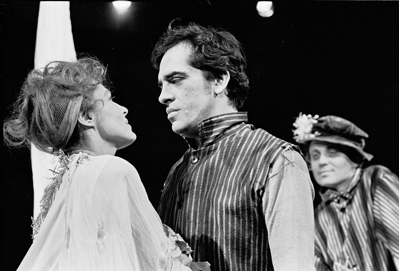 Portia (Viveca Lindfors) and Bassanio (James Patterson) in The Merchant of Venice, with David Tress in background, as directed by George Tabori at the Berkshire Theatre Festival, 1966.