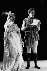 Portia (Viveca Lindfors) and Bassanio (Alvin Epstein) in The Merchant of Venice, as directed by George Tabori at the Berkshire Theatre Festival, 1966.