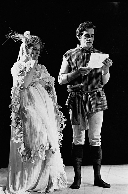 Portia (Viveca Lindfors) and Bassanio (James Patterson) in The Merchant of Venice, as directed by George Tabori at the Berkshire Theatre Festival, 1966.