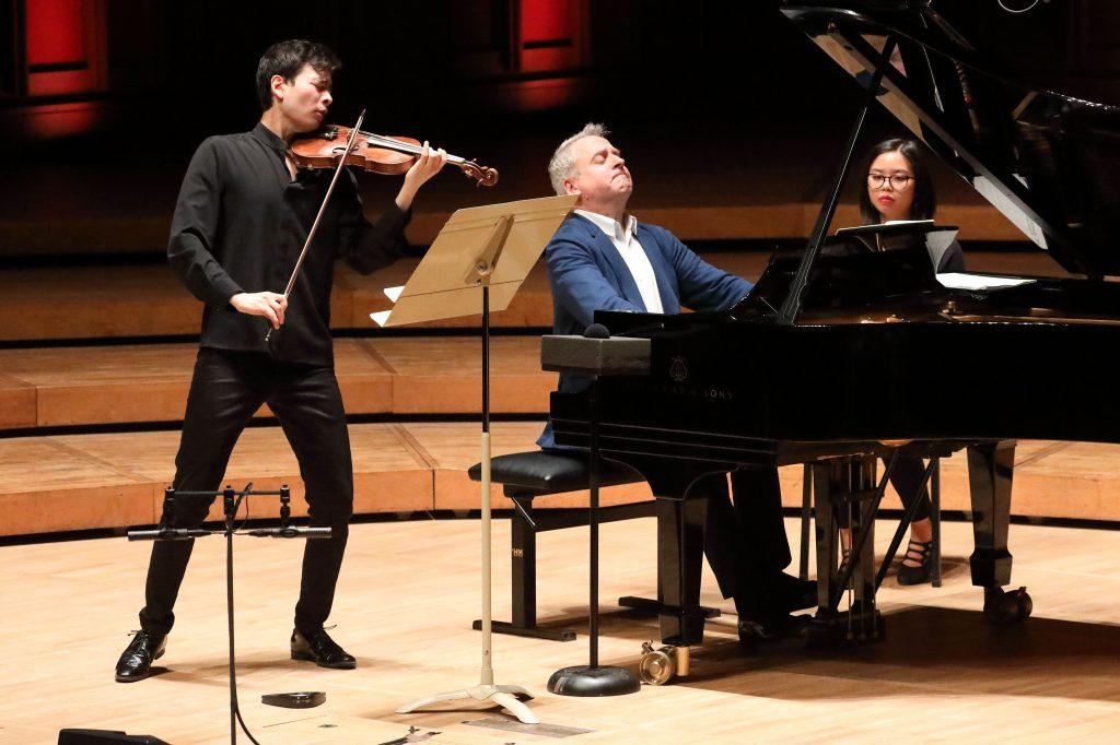 Stefan Jackiw and Jeremy Denk play Ives' Violin Sonatas at Ozawa Hall. Photo. Hilary Scott.