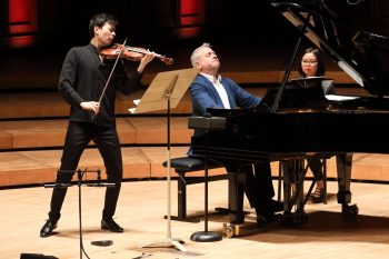 Stefan Jackiw and Jeremy Denk play Ives' Violin Sonatas at Ozawa Hall. Photo. Hilary Scott.