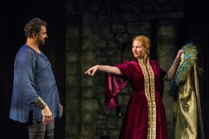 Elijah Alexander as Claudius and Kate Maccluggage in Mark St. Germain's Gertrude and Claudius at The Barrington Stage Company. Photo Daniel Rader.