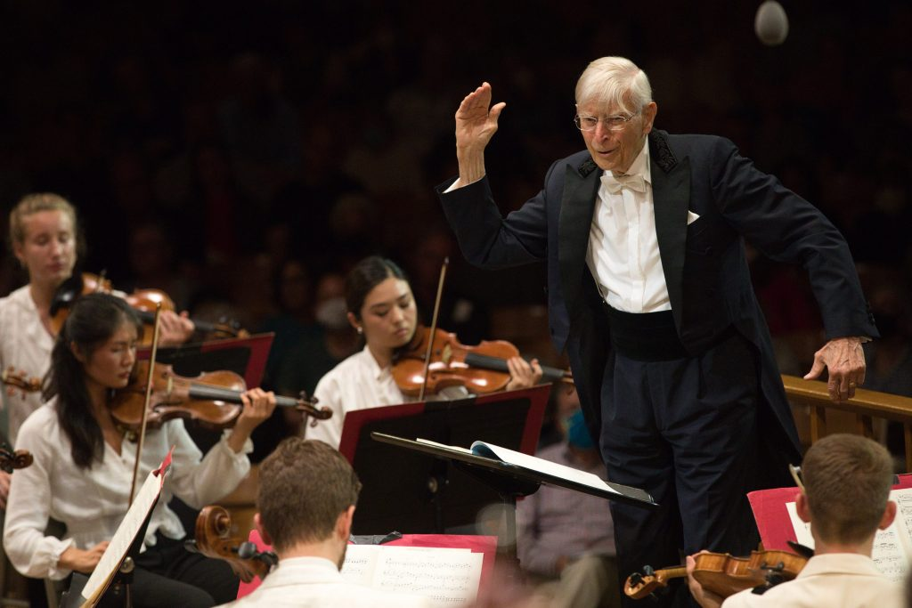 Alum Herbert Blomstadt Conducts TMCO. Photo Hilary Scott.