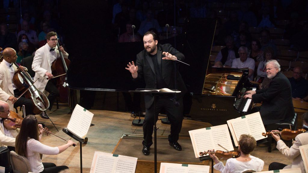 Andris Nelsons, Emanuel Ax, and the BSO on Opening Night. Photo Hilary Scott.
