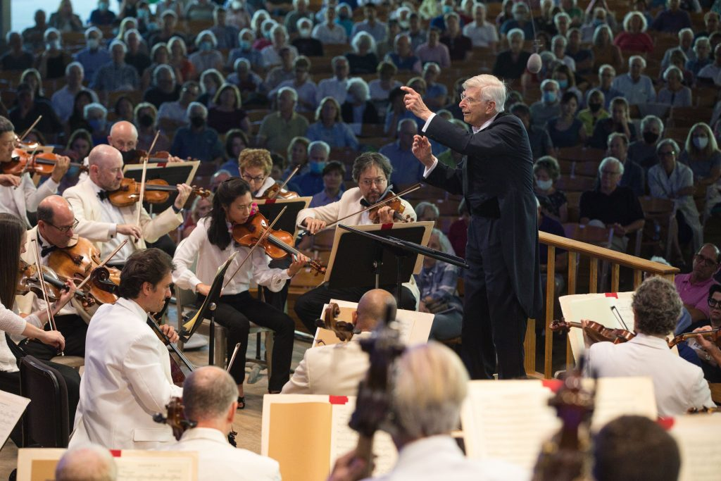 Herbert Blomstedt conducting Brahms 4 with BSO. Photo Hilary Scott.